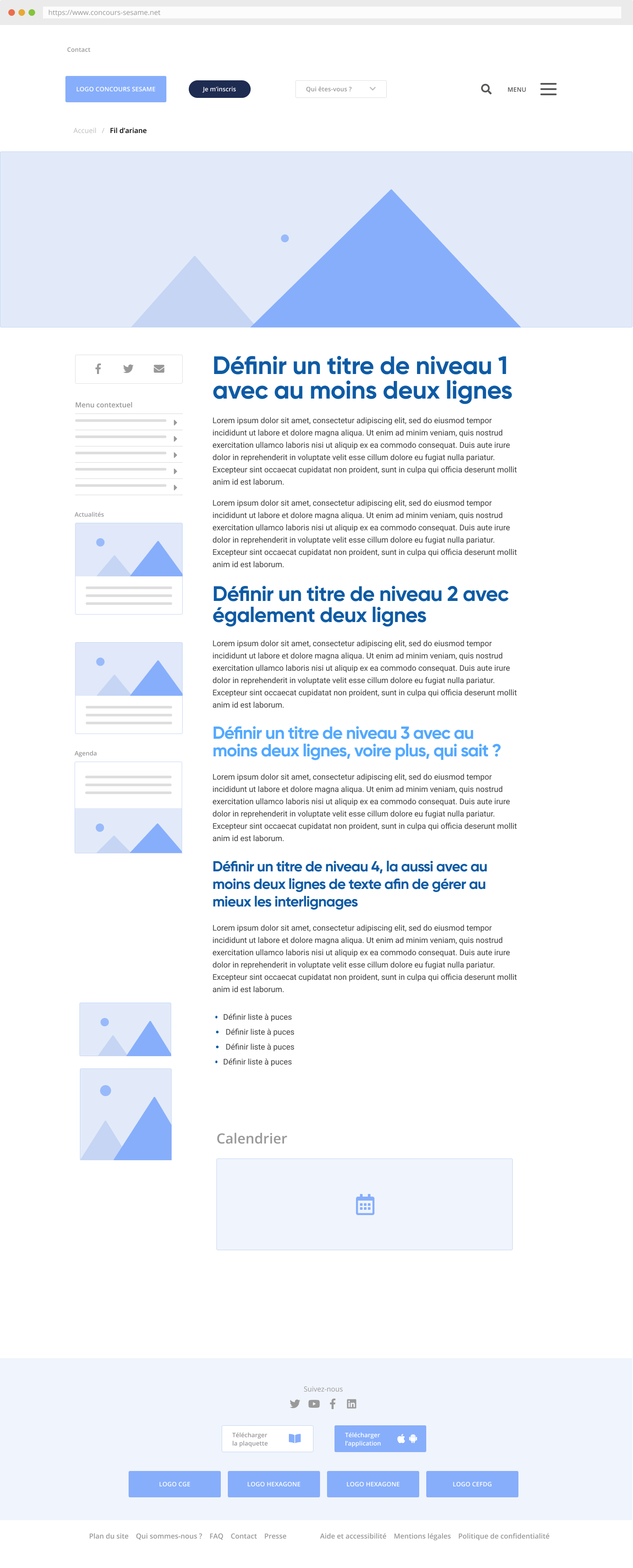WireFrame - page profonde classique